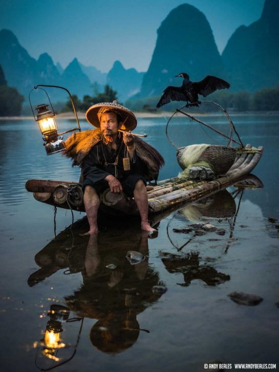 Cormorant fishing in Guilin during the blue hour