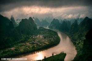 Guilin's mountains during a storm